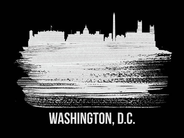 C Wall Art - Mixed Media - Washington, D.c. Skyline Brush Stroke White by Naxart Studio