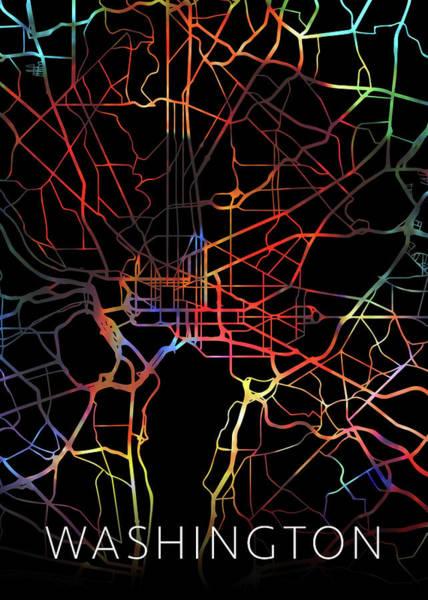 Wall Art - Mixed Media - Washington Dc Watercolor City Street Map Dark Mode by Design Turnpike