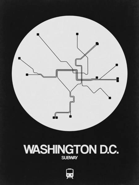 C Wall Art - Digital Art - Washington D.c. White Subway Map by Naxart Studio