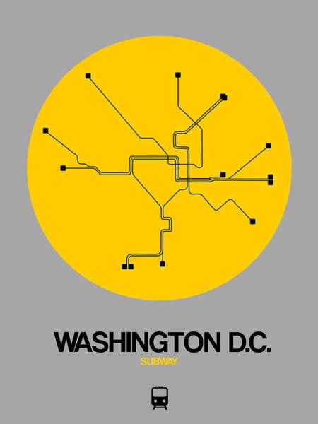 C Wall Art - Digital Art - Washington D.c. Yellow Subway Map by Naxart Studio
