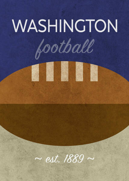 Wall Art - Mixed Media - Washington Football Minimalist Retro Sports Poster Series 017 by Design Turnpike