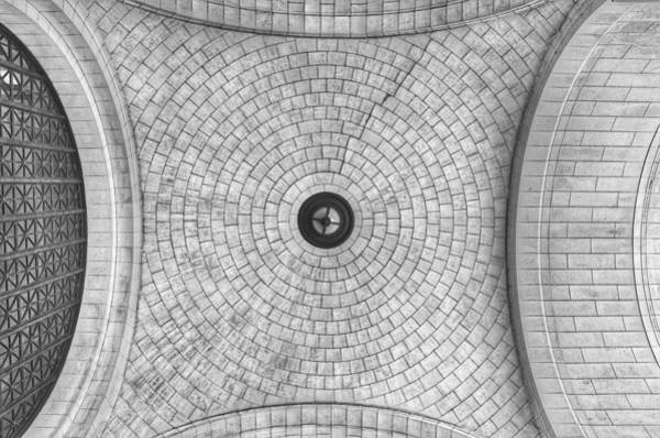 Photograph - Washington Union Station Ceiling 2 Washington D.c. - Black And White  by Marianna Mills