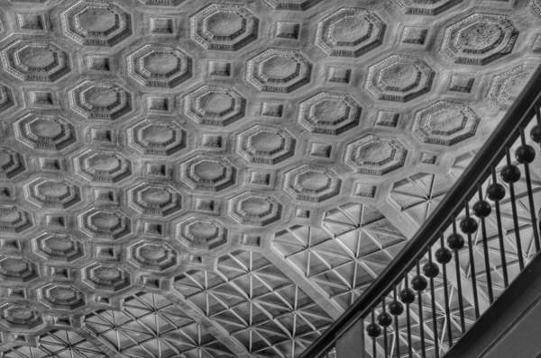 Photograph - Washington Union Station Ceiling Washington D.c. - Black And White by Marianna Mills