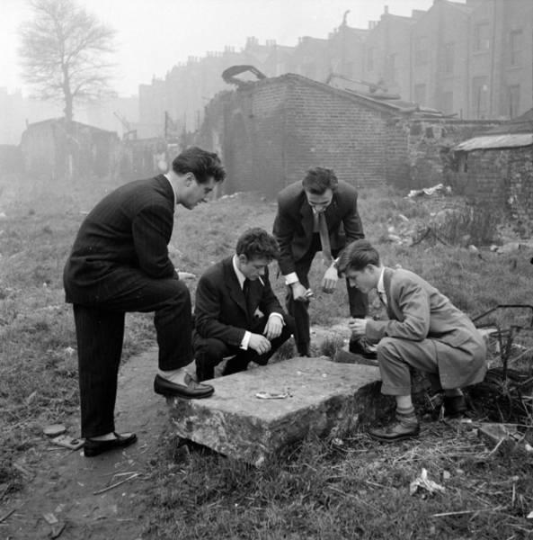 Adolescence Photograph - Wasteland Gamblers by Bert Hardy