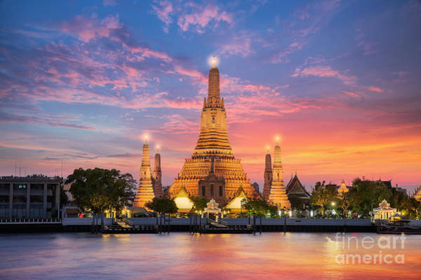 Myanmar Wall Art - Photograph - Wat Arun Night View Temple In Bangkok by Anek.soowannaphoom