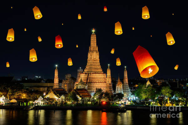 Float Wall Art - Photograph - Wat Arun Under Loy Krathong Day by Travelerpix