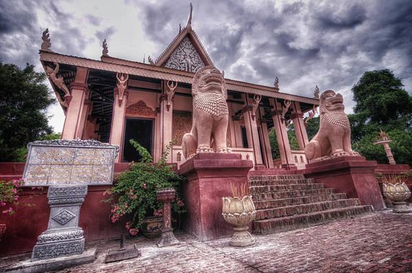 Lion Statue Wall Art - Photograph - Wat Phnom by Smerindo schultzpax