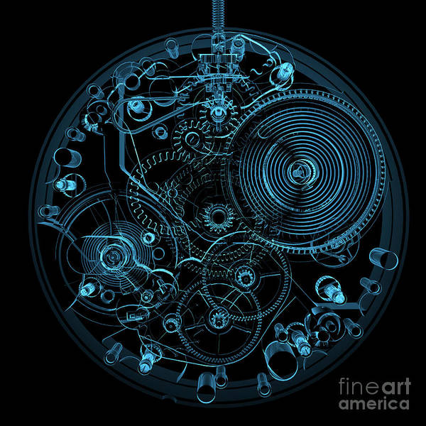 Wall Art - Digital Art - Watch 3d Xray Blue Transparent by X-ray Pictures