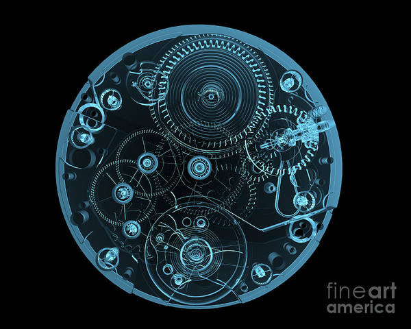 Steel Wall Art - Digital Art - Watch Internals X-ray Blue Transparent by X-ray Pictures