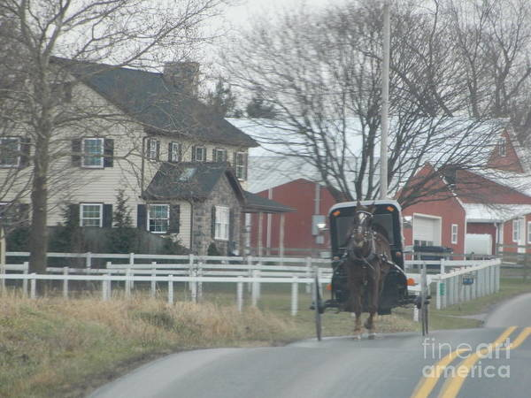 Photograph - Watching An Approaching Amish Buggy by Christine Clark