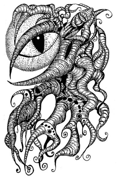 Drawing - Watching Eye Creature With Tentacles by Yulia Kazansky