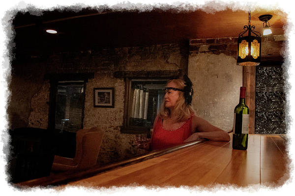 Photograph - Watching From The Bar With Drink In Her Hand by Dan Friend