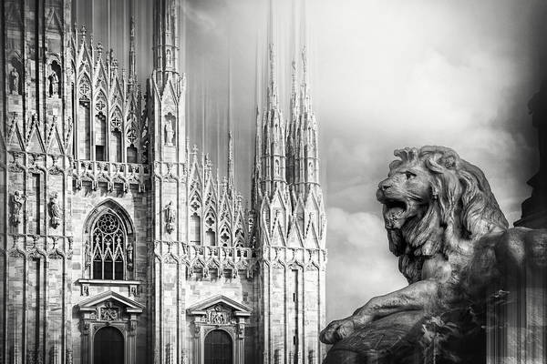 Town Square Wall Art - Photograph - Watching Over The Duomo Milan Italy Black And White by Carol Japp