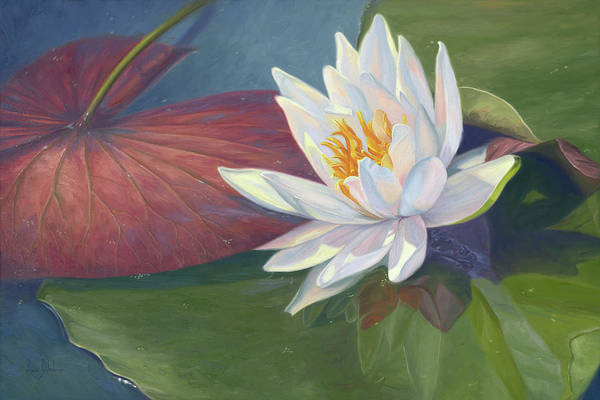 Lilies Painting - Water Beauty by Lucie Bilodeau