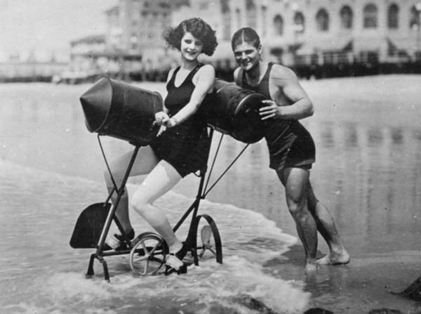 1923 Photograph - Water Bicycle by Topical Press Agency