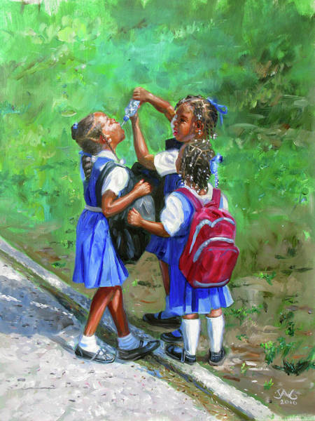 Saint Lucia Painting - Water Bottle by Jonathan Guy-Gladding JAG