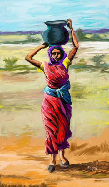 Wall Art - Painting - Water Carrier by Anthony Mwangi