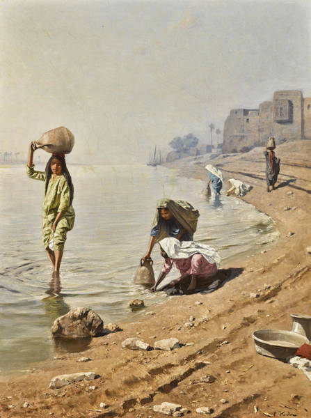Wall Art - Painting - Water Carriers On The Nile by Franz Kosler