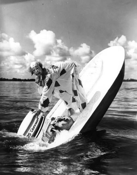 Motorboat Photograph - Water Clown by Central Press