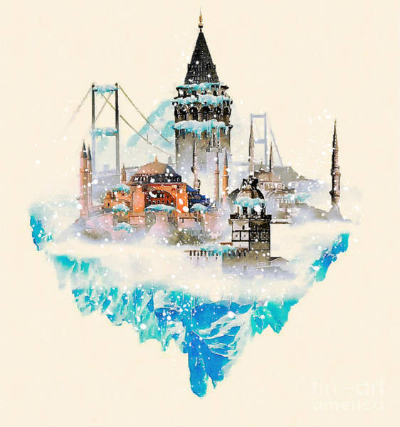 Wall Art - Digital Art - Water Color Illustration Istanbul City by Trentemoller