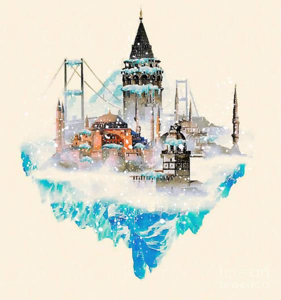 Panoramic Digital Art - Water Color Illustration Istanbul City by Trentemoller
