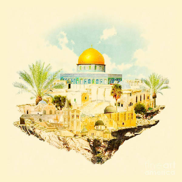 Wall Art - Digital Art - Water Color Illustration Jerusalem View by Trentemoller