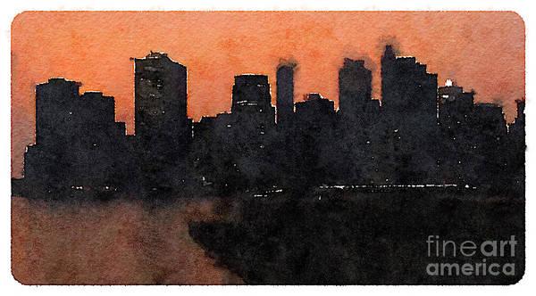 Panoramic Digital Art - Water Color New York City Scene by Trentemoller