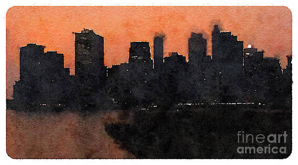 Wall Art - Digital Art - Water Color New York City Scene by Trentemoller