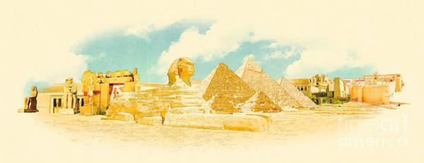 Wide Wall Art - Digital Art - Water Color Panoramic Egypt Illustration by Trentemoller