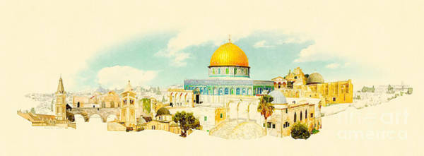 Wall Art - Digital Art - Water Color Panoramic Jerusalem by Trentemoller