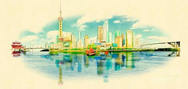 Panoramic Digital Art - Water Color Panoramic Shanghai by Trentemoller