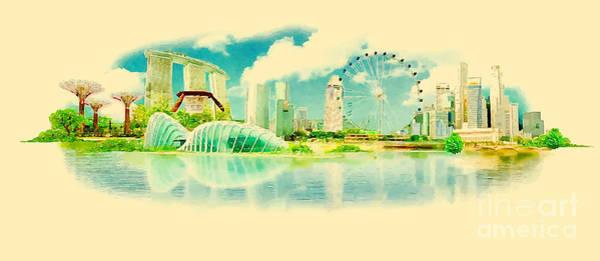 Panoramic Digital Art - Water Color Panoramic Vector Singapore by Trentemoller