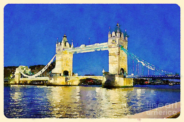 Dark Blue Digital Art - Water Color Tower Bridge London by Trentemoller