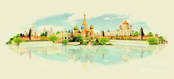 Wall Art - Digital Art - Water Color Vector Panoramic Moscow View by Trentemoller