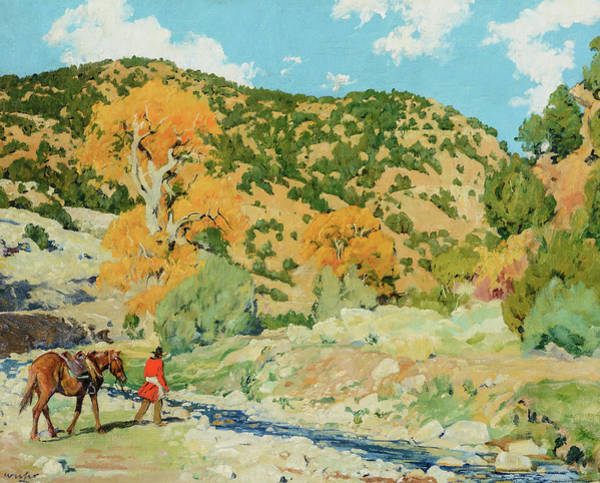 Wall Art - Painting - Water, Crossing The Creek by Walter Ufer