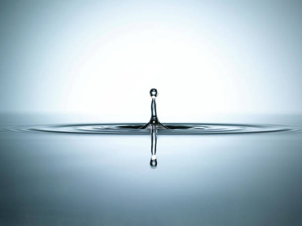 Drops Of Water Wall Art - Photograph - Water Droplet In A Pool Of Water by Chris Stein