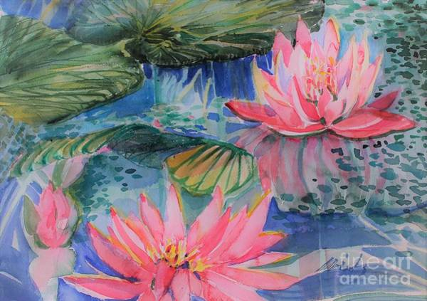 Wall Art - Painting - Water Lilies And Algae, by Mindy Newman