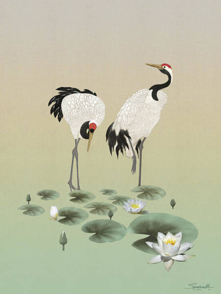 Wall Art - Digital Art - Water Lilies And Cranes by M Spadecaller