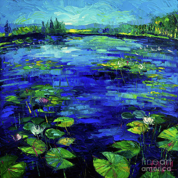 Ultramarine Blue Painting - Water Lilies Story Impressionistic Impasto Palette Knife Oil Painting Mona Edulesco by Mona Edulesco
