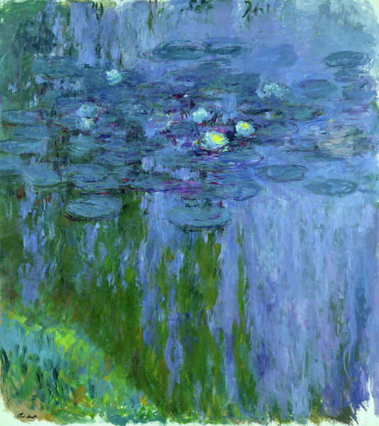 Wall Art - Painting - Water Lilies, Willow Reflection, 1916-1919 by Claude Monet
