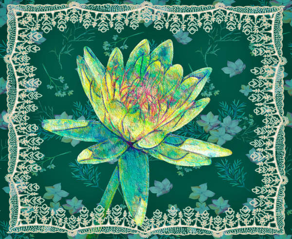 Mixed Media - Water Lily And Lace by Rosalie Scanlon
