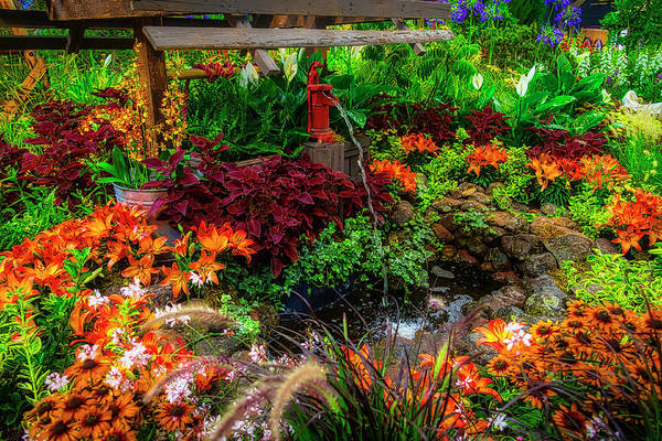 Wall Art - Photograph - Water Pump In Lush Garden by Garry Gay