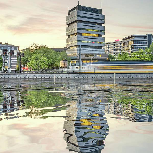 Digital Art - Water Reflection Akragon Rotterdam by Frans Blok