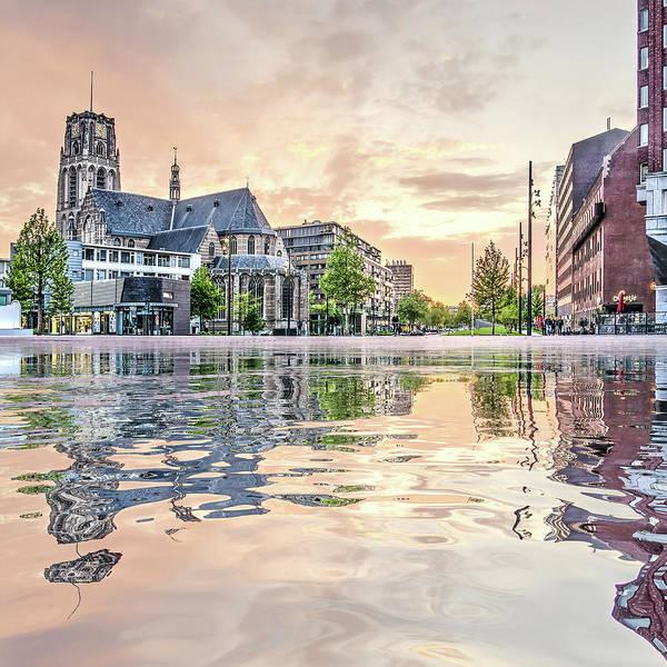 Digital Art - Water Reflection Binnenrotte Rotterdam by Frans Blok