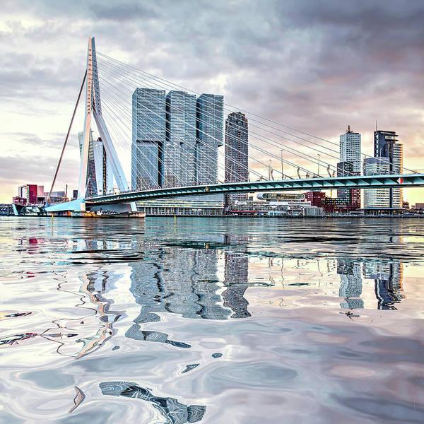 Digital Art - Water Reflection Erasmus Bridge by Frans Blok