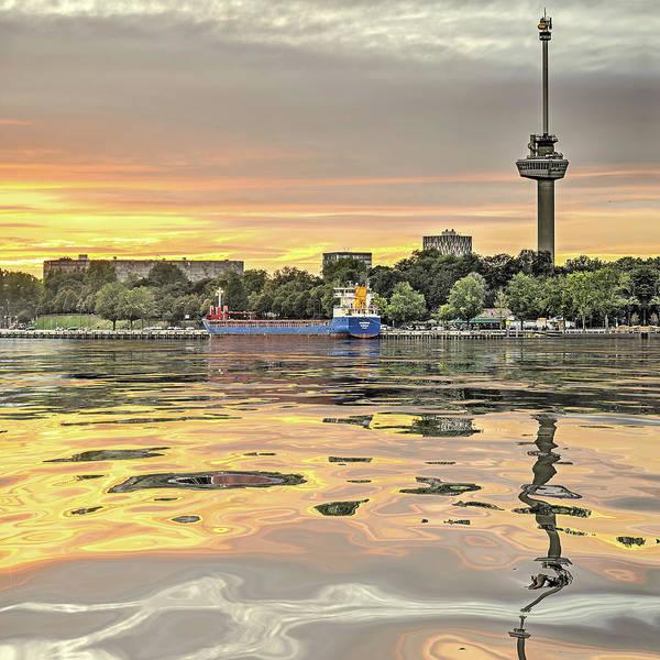 Digital Art - Water Reflection Euromast Rotterdam by Frans Blok