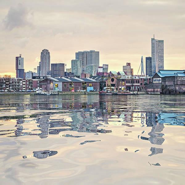 Digital Art - Water Reflection Feijenoord Rotterdam by Frans Blok