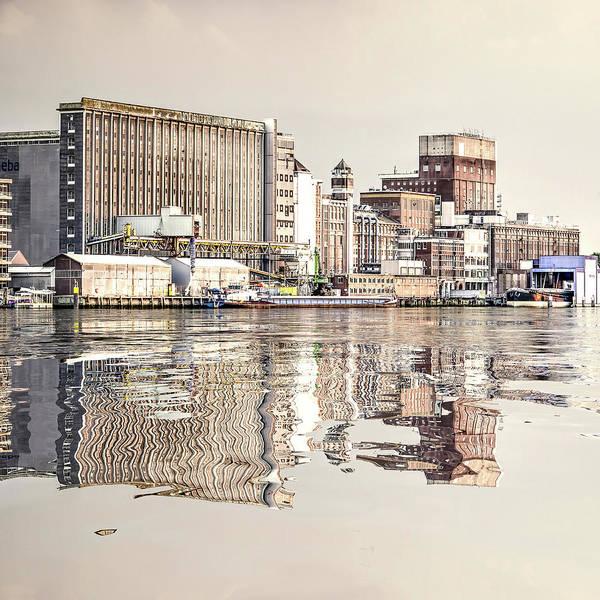 Digital Art - Water Reflection Grain Silo Rotterdam by Frans Blok