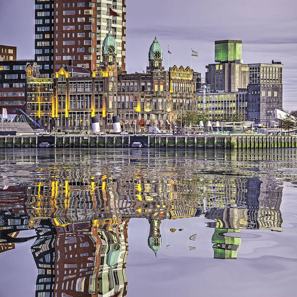 Digital Art - Water Reflection Hotel New York Rotterdam by Frans Blok