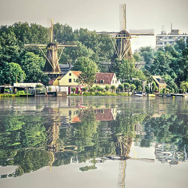 Digital Art - Water Reflection Kralingen Rotterdam by Frans Blok